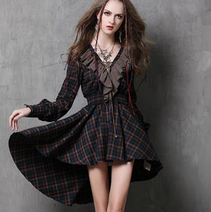 Patchwork Ruffles Irregular Women Dress Long Sleeve