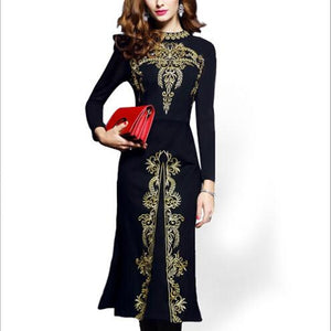 Gold Embroidery Party Dress
