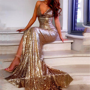 Gold Shiny Sequin Dress for Women