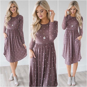 Chic Dot Floral Print Winter Midi Dress