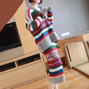 Women Striped Knitted Two Piece Set