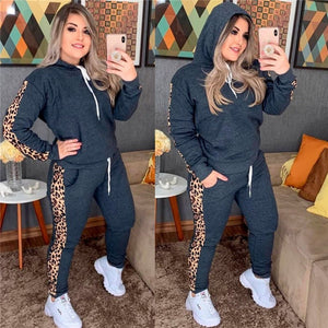 Leopard Print Women Two Piece Set Tracksuit