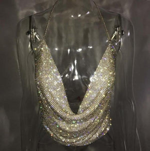 Handmade Shiny Rhinestones Crop Top Backless - M A R C E I L L A