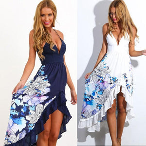 New Arrivals Fashion v-neck Print Beach Dress - M A R C E I L L A