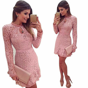 Women Sexy Pink Hollow Lace Long Sleeve Slim Party Dress