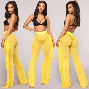 Beach Style  Wide Leg Pants with Color Options