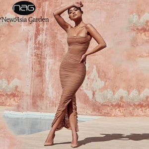 New Sexy Club Wear Ruched Sheer Maxi Dress - M A R C E I L L A
