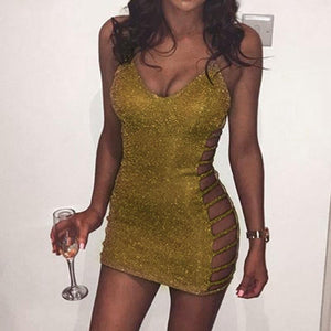 Cute Club Dress Gold Deep V Neck - M A R C E I L L A
