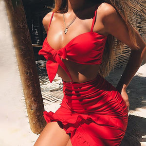 Ruffle halter two piece sets women Sexy bow tie party dress