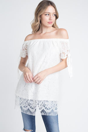 White Off shoulder Lace Top - M A R C E I L L A