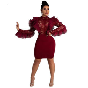 Burgundy Ruffles sheer Lace Bodycon dress