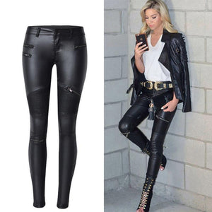 2019 Spring Winter Black PU Leather Pants