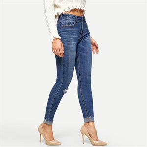 Navy Rolled Knee Ripped stretchy Jeans