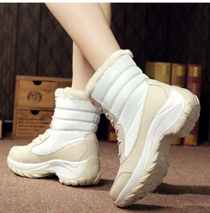 Women Boots Waterproof Winter Shoes Warm Ankle Winter Boots With Thick Fur Heels