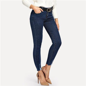 Sheinside Navy Skinny Ankle Solid Jeans