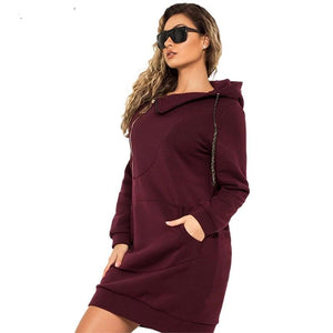 Women Stretchy Hooded Sweater Dresses