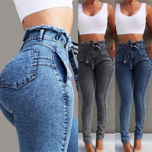 High Waisted Jeans with Tassel Belt Bandage Jeans for women