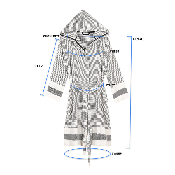 Pixel Turkish Towel Robe Size Guide