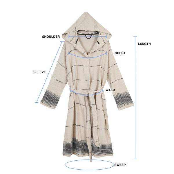 Amber Linen Turkish Towel Robe Size Guide