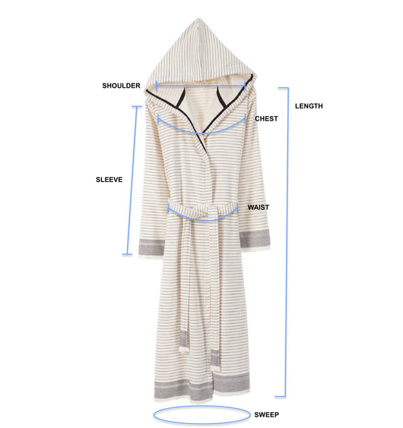 Bliss Turkish Towel Robe Size Guide