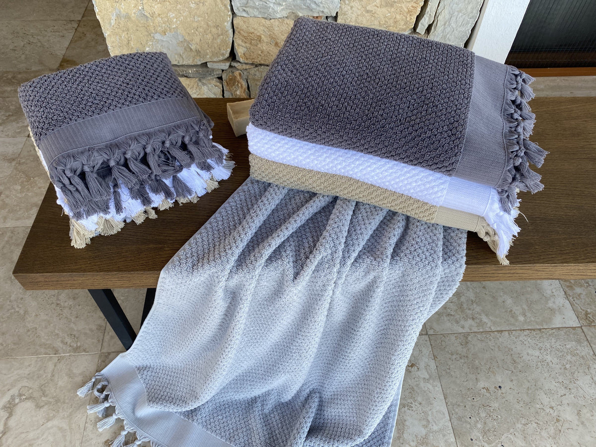 Tassel Dots Turkish Terry Bath Towel