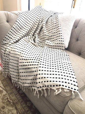 Ivory Silk and Cotton Throw with Black Silk Dots, Handwoven from Premium Turkish Cotton and Silk, Lightweight, Sofa Throw, Bed Throw, Decorative Throw