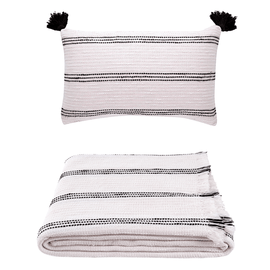 Ivory Stitch Throw and Pillow Cover Set