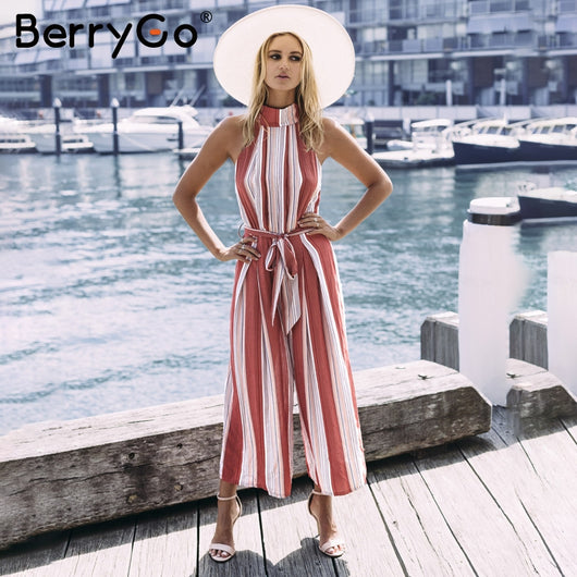 52735c48d57 BerryGo Halter backless red stripe sexy jumpsuit romper Summer bow  sleeveless jumpsuit ...