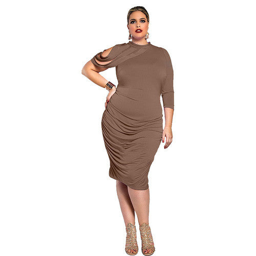 41f3dec897d ... Plus Size Women Clothing New Fashion 2016 Off the Should Party Dresses  For Big Women Solid ...