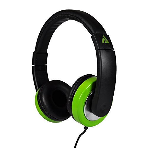 Titan On-Ear Stereo Headphones with Chrome Accents (Black/Neon Green)