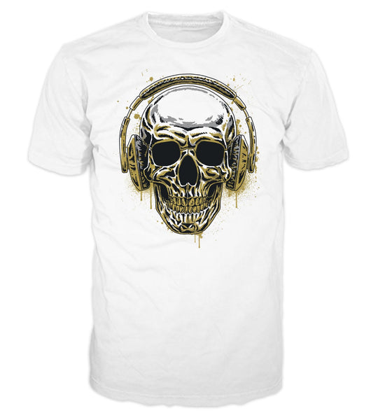 Metallic Skull Headphones Men's Graphic T-Shirt