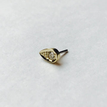 BVLA Pave Flat Teardrop Pushpin End