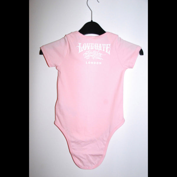 Pink Love Hate Logo Baby Grow