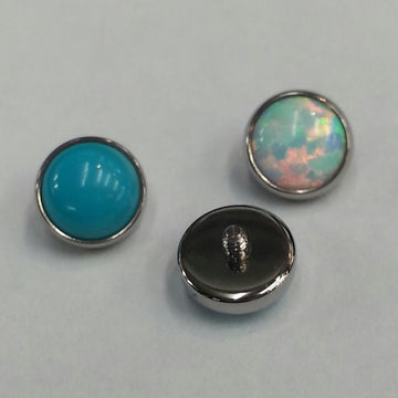 Anatometal Bezelset Opal Threaded End