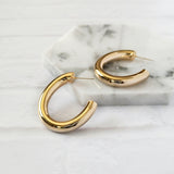 Solid Gold Hoop Earrings for Women Large C Shape Earrings Open Hoops Minimalist Round Circle Earrings Fashion Jewelry - CleoBLVD