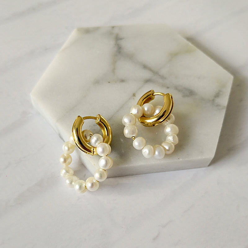 Double Circle Pearl Hoop Earrings - CleoBLVD