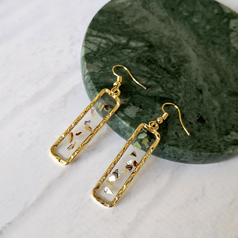 Gold Rectangle Frame Acrylic Earrings - CleoBLVD