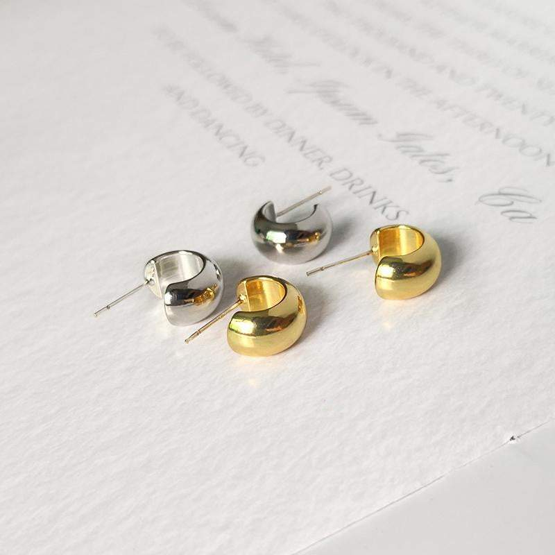Gold Semi-Circle Tiny Hoop Earrings - CleoBLVD