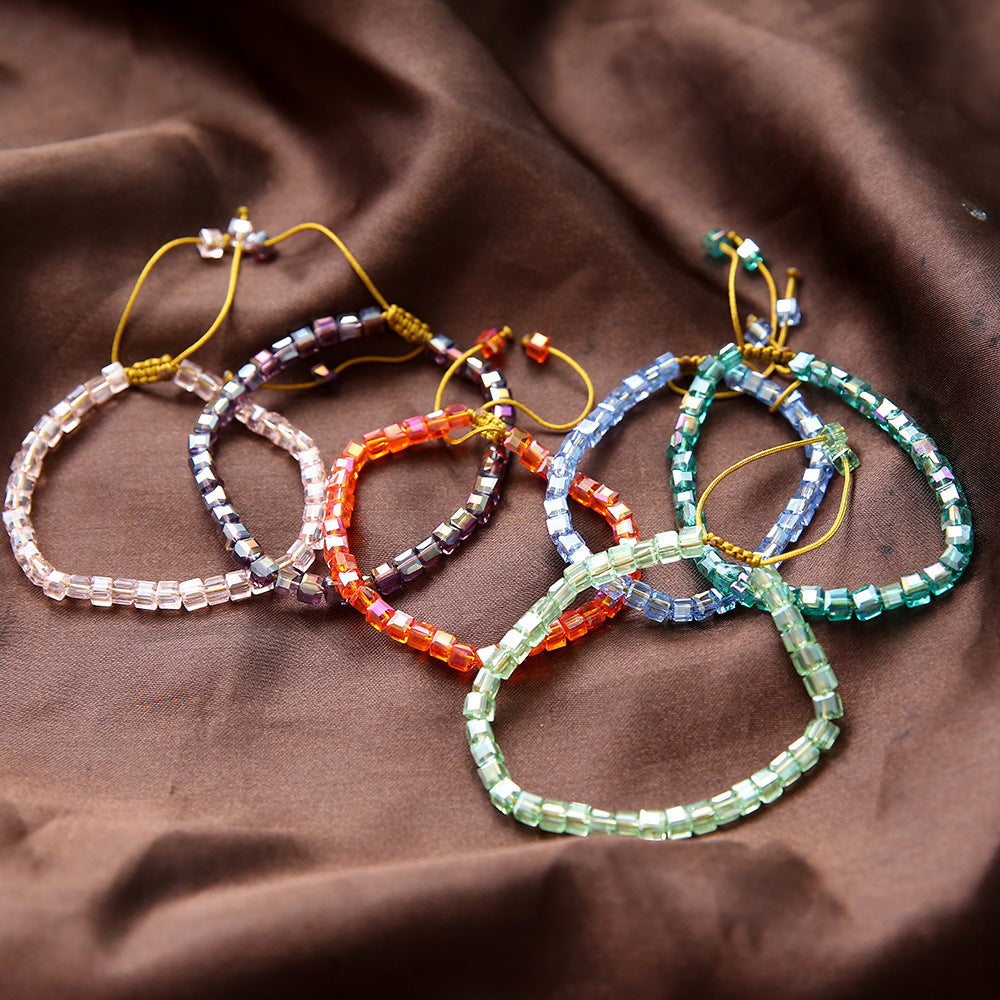 Hand-woven Square Crystal Bead Bracelets - CleoBLVD