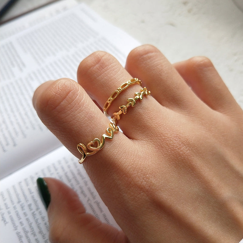 Open Love Simple Leaves Initial Rings - CleoBLVD