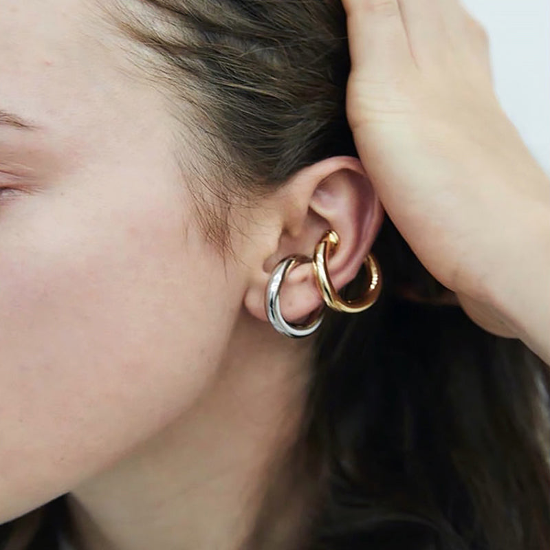 Solid Gold Circle Cuff Clip Earrings - CleoBLVD