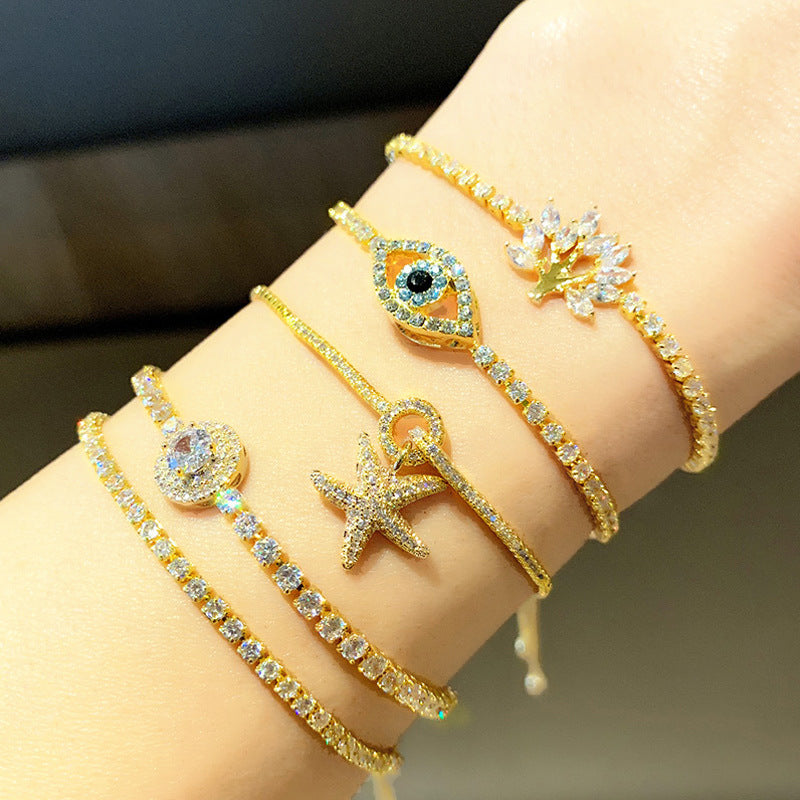 Adjustable Starfish Zircon Bracelet - CleoBLVD