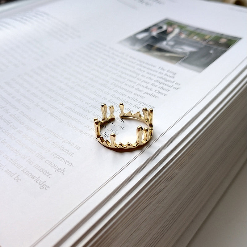 Sterling Crown Open Layering Ring - CleoBLVD