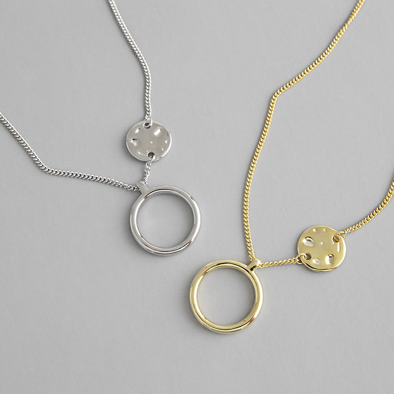 Gold Filled Circle Pendant Necklace - CleoBLVD