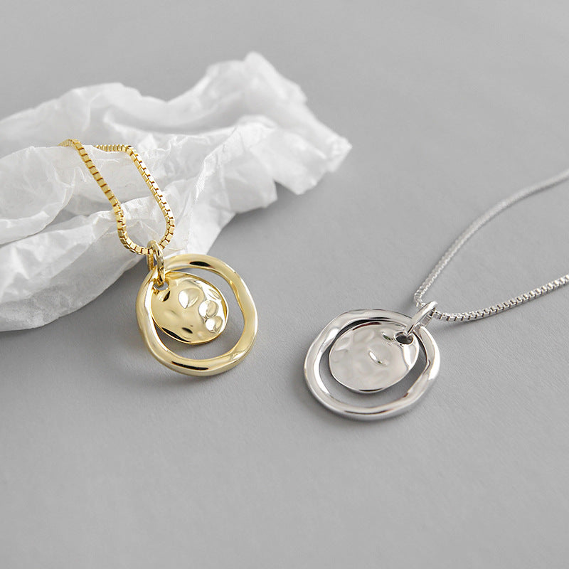 Irregular Surface Round Pendant Necklace - CleoBLVD