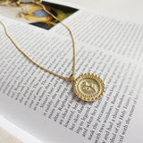 Rose Flower Gold Pendant Necklace - CleoBLVD