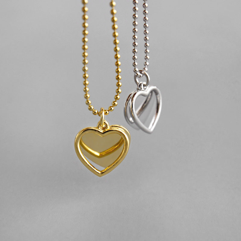 Double Heart Pendant Gold Filled Necklace - CleoBLVD