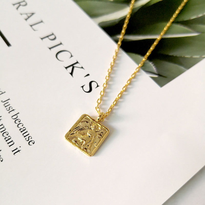 Square Portrait Gold Medallion Necklaces - CleoBLVD