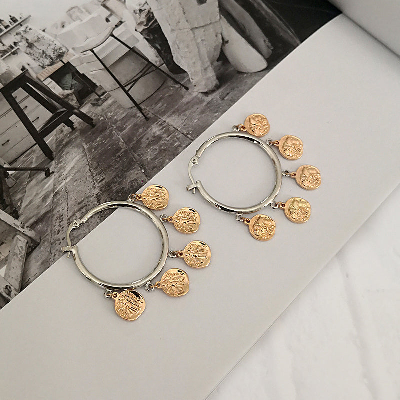 Multi Gold Coin Charm Hoop Earrings - CleoBLVD