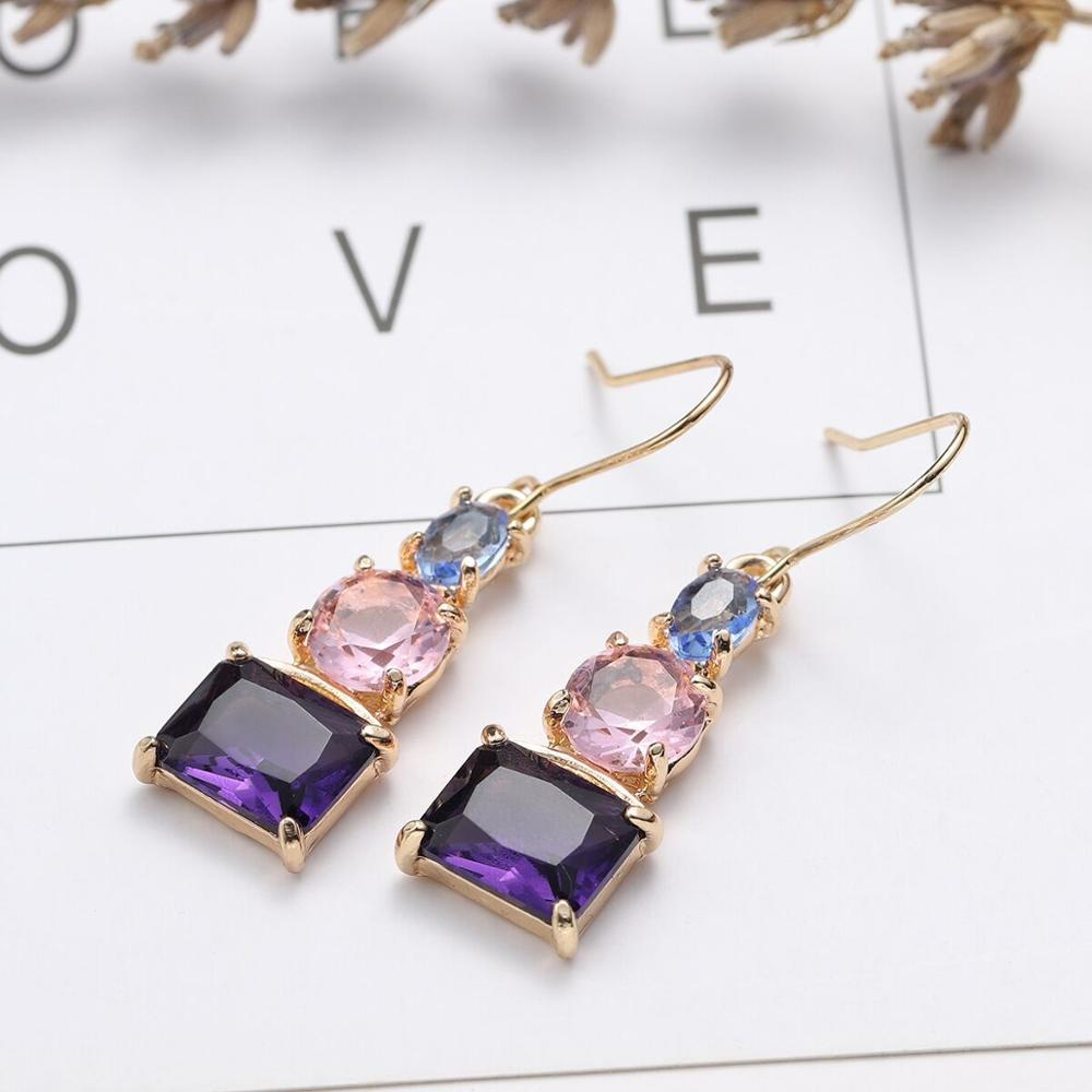 Speaking Blue and Pink Topaz Earrings